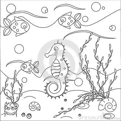 Coloring Page With Sea Scene. Marine Life Theme