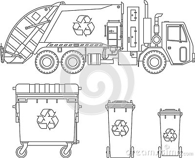 Coloring Pages. Garbage Truck And Different Types Of