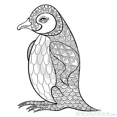 Coloring Pages With King Penguin, Zentangle Illustartion