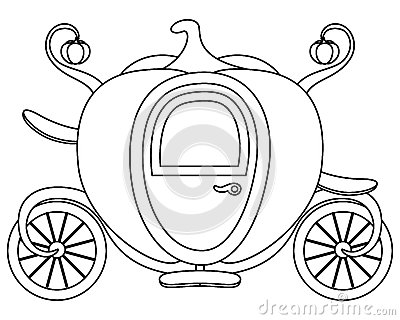 Coloring Pumpkin Cinderella's Carriage Vector Illustration