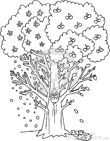 Coloring Season Tree Vector Royalty Free Stock Image