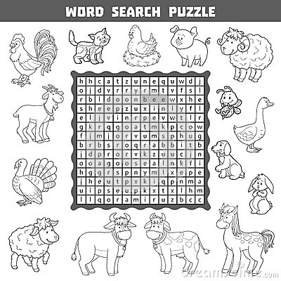 Colorless Crossword About Farm Animals. Word Search Puzzle
