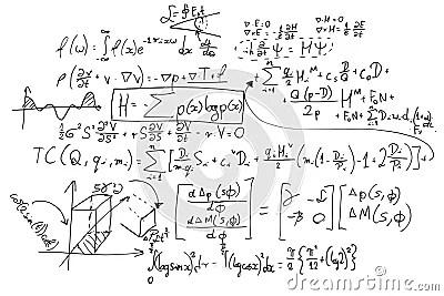 Complex Math Formulas On Whiteboard. Mathematics And