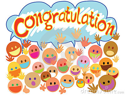 Congratulations With People Faces Stock Photo Image