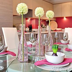 Kitchen Set For Girl Cabinets Contemporary Dining Table Dinner Royalty Free ...