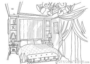 bedroom interior doodles draw background living sketch hand contemporary