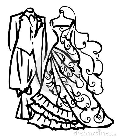 Couple Wedding Dress White And Black Royalty Free Stock