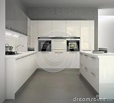 Cucina Moderna Lucida Bianca In Un Interno Illustrazione
