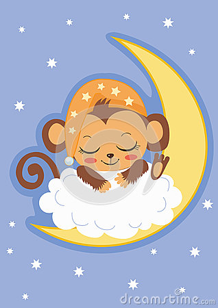 Cute Baby Cartoon Wallpaper Cute Baby Monkey Is Sleeping On The Moon Cartoon Vector