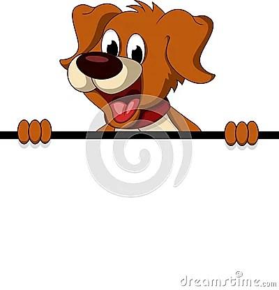 Cute Dog Cartoon Holding Blank Sign Royalty Free Stock