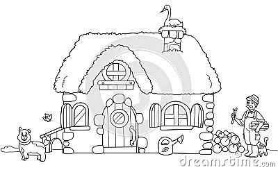 Cute Farm, Coloring Illustration Royalty Free Stock Photo
