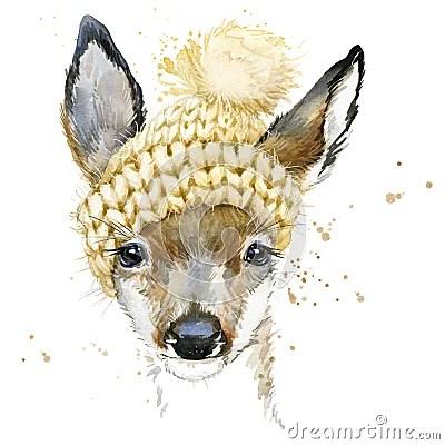 Cute Forest Deer T Shirt Graphics Watercolor Deer
