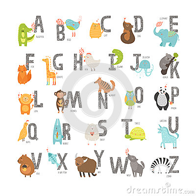 Cute Vector Zoo Alphabet Stock Vector Image 49750848