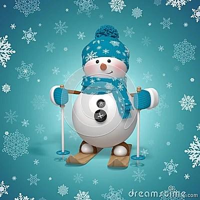 3d Cartoon Character Funny Skiing Snowman Royalty Free