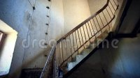 Dark Spiral Staircase With Window Into A Stock Footage ...