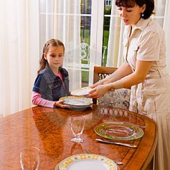 Kitchen Set For Girl Spoon Daughter And Mom Setting The Table Stock Photos - Image ...