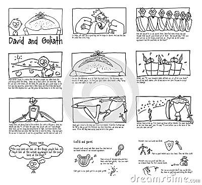 David And Goliath Sunday School Comic Strip Royalty-Free