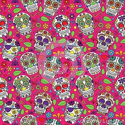 Cute Sugar Skull Wallpaper Day Of The Dead Sugar Skull Seamless Vector Background
