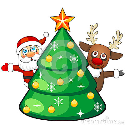 Deer And Santa Claus With Christmas Tree Royalty Free