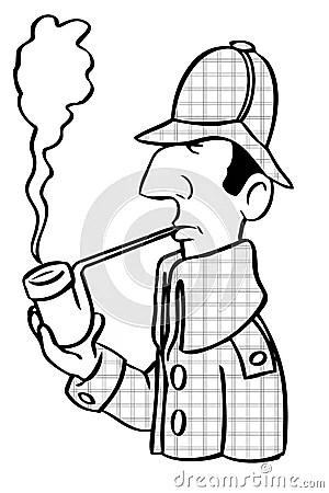 Desenhos Animados Sherlock Holmes Fotografia de Stock