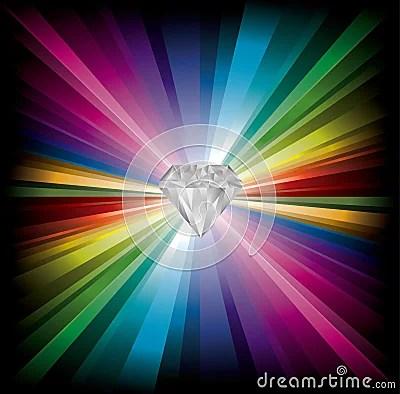 Diamond Illustration On Rainbow Background Royalty Free