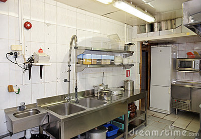 Dish Washing Room In A Restaurant Royalty Free Stock