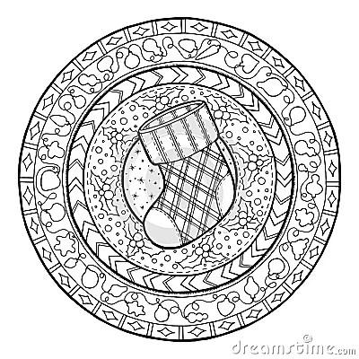 Doodle Christmas Sock On Ethnic Mandala Stock Vector