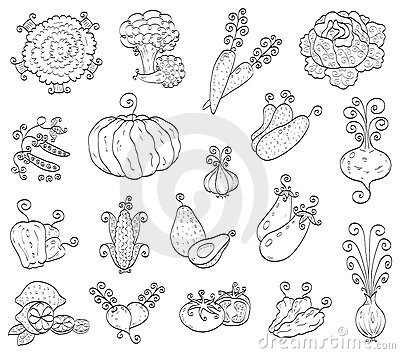 Doodle Fruits, Vegetables Royalty Free Stock Photography