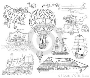 Doodle Set With Old And Modern Means Of Transport Stock Vector  Image: 64242834
