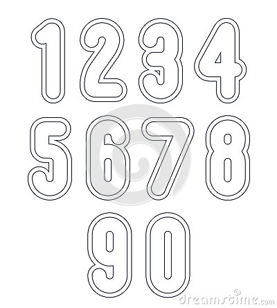 Double Clear Delicate Line Retro Numbers Set, Vector Light