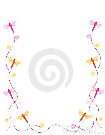 Cute Rose Wallpaper Free Download Dragonfly Border Frame Royalty Free Stock Photography