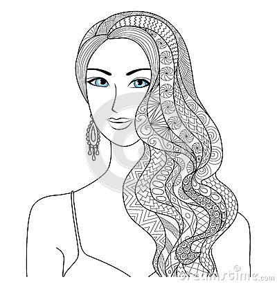 Drawing Sexy Woman Zentangle Hair Style For Coloring Book