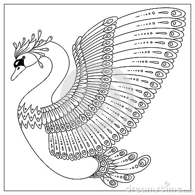 Drawing Zentangle Swan For Coloring Page Stock Vector