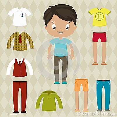 Dress Up Game Boy Paper Doll With Clothes Set Cartoon