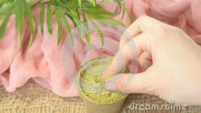 Dry Henna Powder With Female Hands To Rub Without Manicure ...