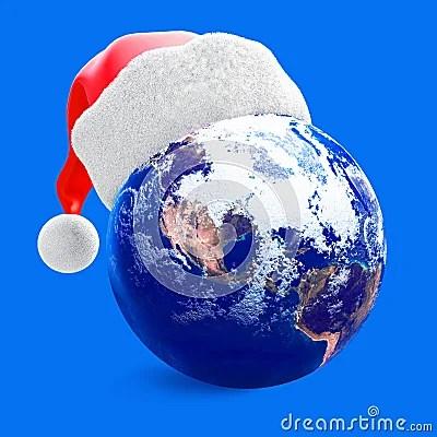 Earth Globe And Santa Hat Stock Photo Image 6615980