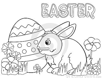 Easter Bunny Coloring Page Royalty Free Stock Photo