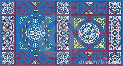 Egyptian Tent Fabric Pattern 1blue Royalty Free Stock