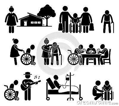 Elderly Care Nursing Retirement Home Cliparts Stock Vector
