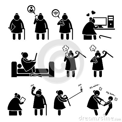 Elderly Old Woman Using Computer Smartphone Cliparts Icons