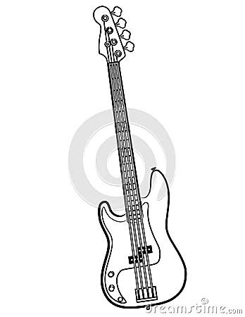 Electric Bass Guitar Line Art Vector Illustration Royalty