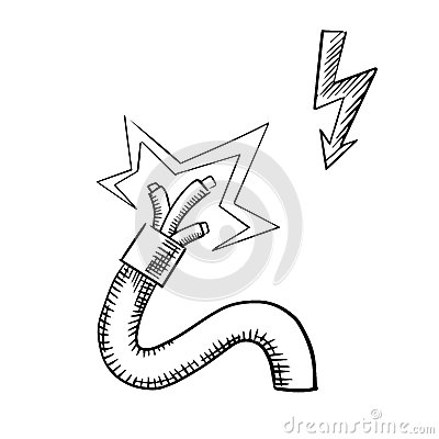 Electrical Cable With Sparkling Bared Wires Stock Vector