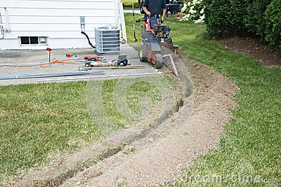Electrician Contractor Dig Trench For Electrical Royalty