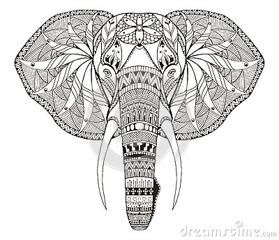 Elephant Head Zentangle Stylized, Vector, Illustration
