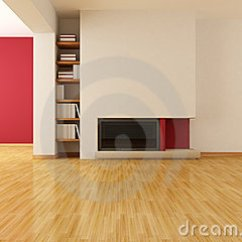 Modern Red Chair Wedding Cover Hire Suffolk Empty Living Room With Minimalist Fireplace Royalty Free Stock Photography - Image: 18167637