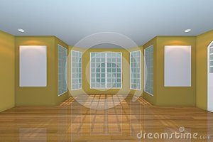 empty yellow living royalty rendering floors decorated wooden interior wall