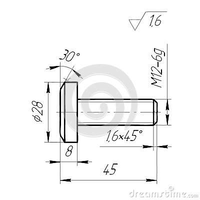 Engineering Drawing The Bolt On A White Background. Stock
