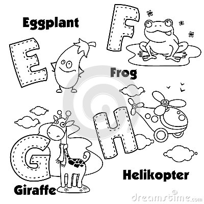 English Alphabet And The Letters E, F, G And H Stock
