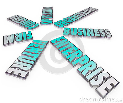 Enterprise Business Company 3D Words Firm Venture