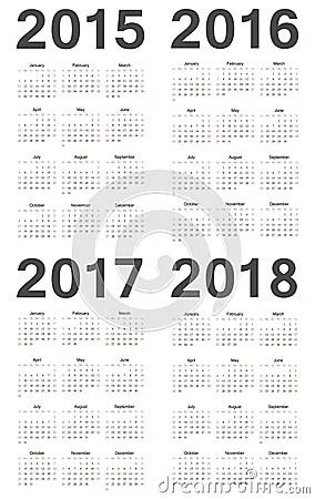 European 2015, 2016, 2017, 2018 Year Vector Calend Royalty